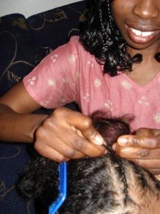 Braiding O.N.'s hair